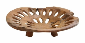 Plate With Hole In Pure Teak Construction For Dining Table - 37761 by Benzara