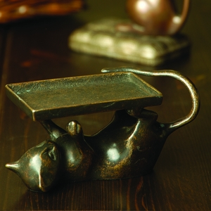 Playful Cat Card Holder Showpiece in Antiquated Brass by SPI-HOME