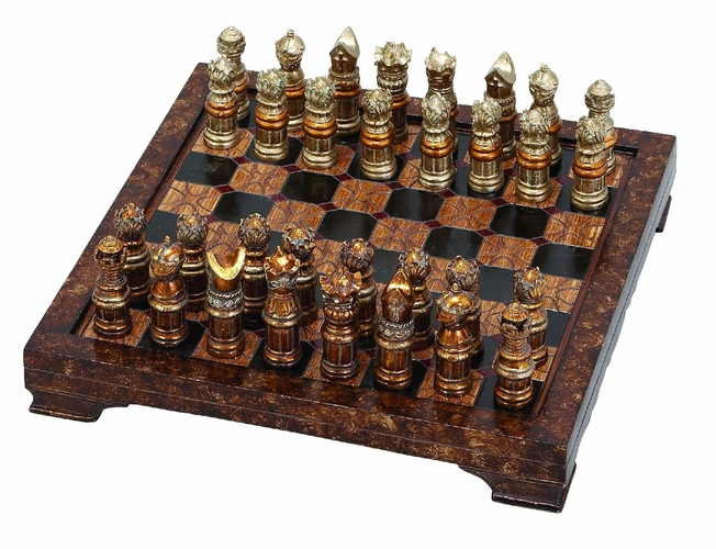 Woodland import 39348 unique medieval chess set with game board 33 pcs 15 at wildorchidquilts net - Ornamental chess sets ...