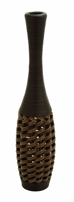 56104 Flower Vase In Stylish Wicker Woven Pattern - 56104 by Benzara