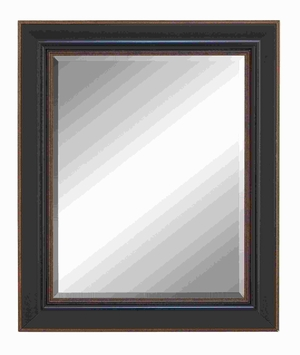Beveled Mirror With Saddle Brown Finish & Brown Accent - 54578 by Benzara