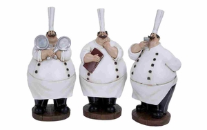 Fat Chef - Polystone Chef 3 Assorted - 69748 by Benzara