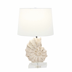 Polystone Glass Sea Snail Table Lamp - 58669 by Benzara