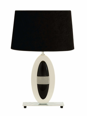 Polystone Metal Table Lamp With Black And White Lampshade - 53411 by Benzara