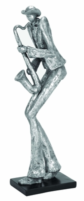 Polystone Sax Musician Decor With Intricate Detailing In Silver - 35211 by Benzara
