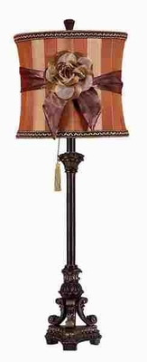 33 INCH HIGH POLYSTONE TABLE LAMP WITH FLOWER ACCENT - 95651 by Benzara