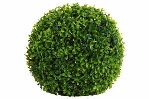 Polyurethane Round Topiary Effect Bush Ball Decor Large - Green - Benzara