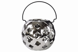 Porcelain Spherical Lantern with Cutout Design Large Silver - Benzara