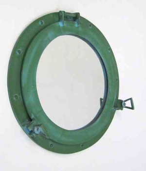 Porthole Mirror In Green Coordinating Nautical Wall Decor Brand IOTC