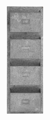Four Tiered Metal Galvanize Wall Pocket with Letterbox Design - 49108 by Benzara