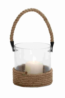 Cylindrical Shape Glass Lantern With Rope Handle - 23826 by Benzara