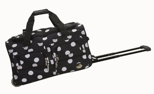 """PRD322-BLACKDOT 22"""" Rolling Duffle Luggage Bag"""