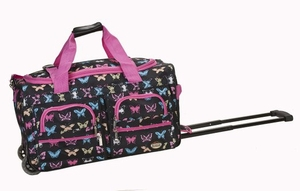 "PRD322-BUTTERFL 22"" Rolling Duffle Luggage Bag"