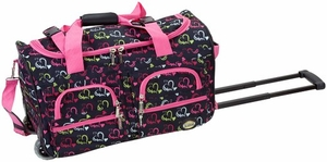 "PRD322-HEART1 22"" Rolling Duffle Luggage Bag"