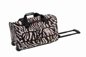"PRD322BROWNZEBR 22"" Rolling Duffle Luggage Bag"