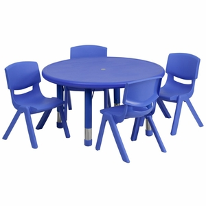 Flash Furniture Preschool Activity Table Set with stack chairs Blue