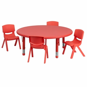Flash Furniture Preschool Activity Table Set with Stack Chairs Red