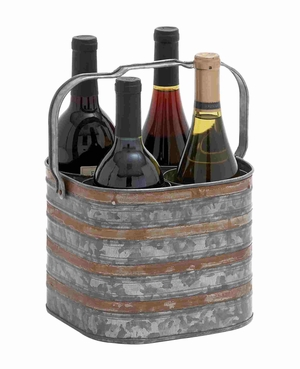 Rustic Metal Galvanize Four Bottle Holder - 38194 by Benzara