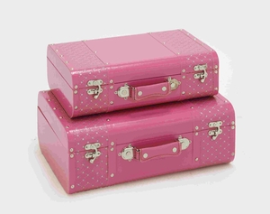 Pretty Pink Color Set of Two Beautiful Vinyl Boxes Brand Benzara - 99067 by Benzara