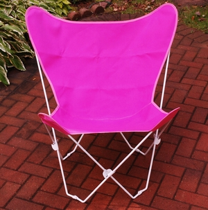 Pretty Pink Cotton Foldable Butterfly Chair by Algoma