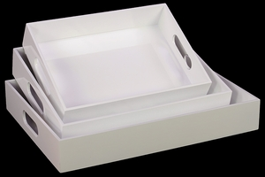 Pretty White Set of Three White Wooden Trays