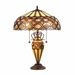 """Prisma, Tiffany-Style 3 Light Double Lit Table Lamp 16"""" Shade"""