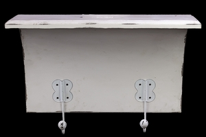 Pristine White Wooden Shelf with Appealing Hooks