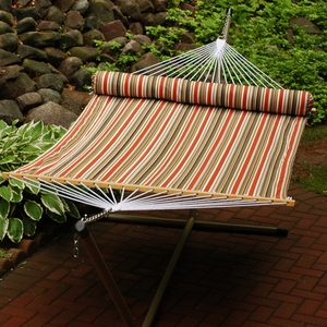 Pumpkin, Brown, and Tan Stripe / Tan solid, 13' Reversible Quilted Hammock with Matching Pillow