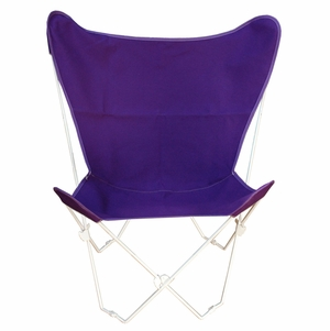Algoma Purple Cotton Duck Fabric Butterfly Chair and Cover Combination
