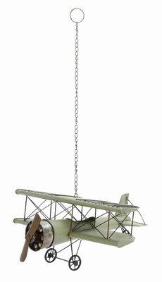 Decorative Vintage Sea Green Bi Airplane Model - 92626 by Benzara