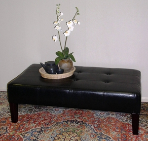 4D Concepts Radiant Black Faux Leather Authentic Coffee Table