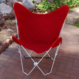 Radiant Red Cotton Fabric Foldable Butterfly Chair by Algoma
