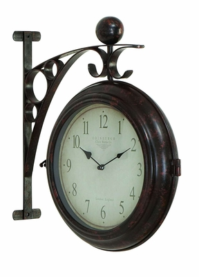 METAL WALL 2 SIDE CLOCK DESIGNED WITH ANTIQUE LOOK - 42807 by Benzara