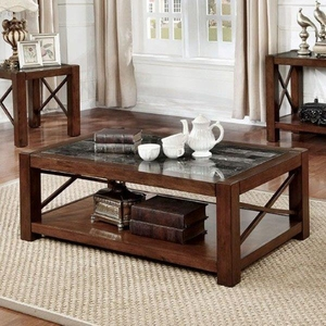 Rani Cayman Coffee Table Transitional Style, Brown Cherry Finish