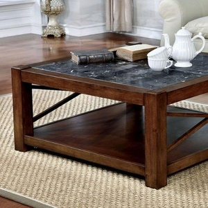 Rani Square Coffee Table Transitional Style, Brown Cherry Finish