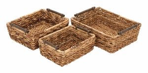 52618 Rattan Basket Set/3  Unique Home Accents - 52618 by Benzara