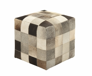 Ravishing Styled Wood Leather Ottoman - 95919 by Benzara