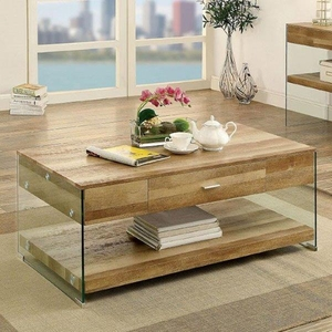 Raya Coffee Table Contemporary Style, Natural Tone Finish