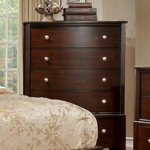 Rebecca Transitional Style Chest, Brown Cherry Finish