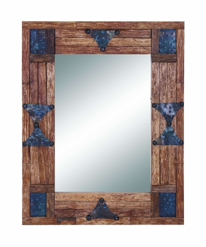 Classy Wood And Mirror With Metallic Trinkets On The Edges - 35714 by Benzara