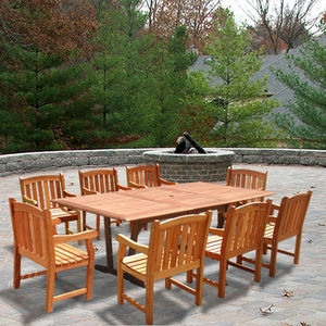 Rectangular Extension Table & Wood Arm ChairOutdoor Dining Set 20