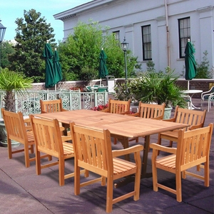 Rectangular Extension Table & Wood Arm ChairOutdoor Dining Set 21