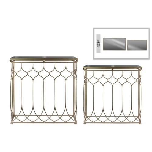 Buy Rectangular Nesting Console Table With Mirror Top Set Of Two   Gold    Benzara At Wildorchidquilts.net