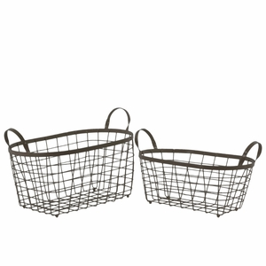 Rectangular Wire Basket with Handles and Mesh Body Set of Two Black - Benzara