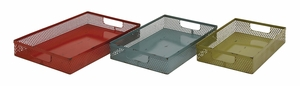 Red, Blue And Green Polished Metal Tray - 34959 by Benzara