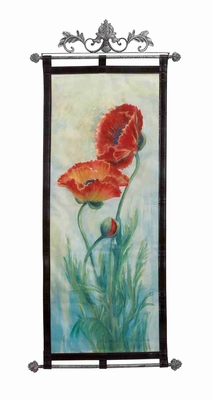 "Red Fleur Leather Wall Hanging W Metal Scroll 56""x25""  by Benzara"