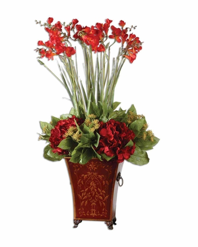 buy red freesia in english classic metal tole planter with free shipping at. Black Bedroom Furniture Sets. Home Design Ideas