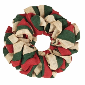 Red, Natural and Green Burlap Wreath 15 - 26854 by VHC Brands
