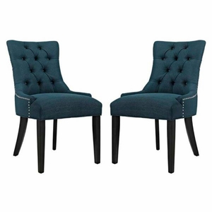 Regent Set of 2 Fabric Dining Side Chair, Azure