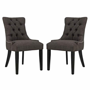 Regent Set of 2 Fabric Dining Side Chair, Brown